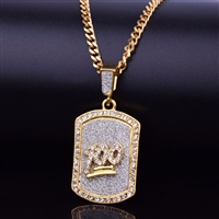 100 Gold Crystal Mini Dog Tag Pendant