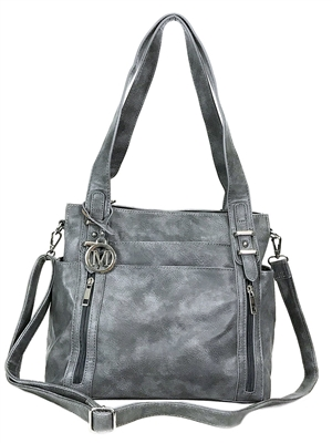 Gray Multi Pockets Double Handles Concealed Carry Purse with Hidden Locking Zipper
