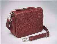 GTM-15 CROSS BODY CONCEALED CARRY ORGANIZER - RED TOOLED COWHIDE