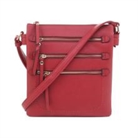 Multi-Pocket Concealed Carry Lock and Key Crossbody Red