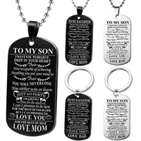To My Son Dog Tag Love DAD : Black