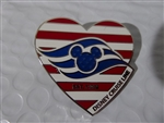 Disney Trading Pin  125230 DCL - Heart - American Flag Cruise Line Wave Logo