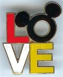 Disney Trading Pin 51741: Mickey Mouse Head Icon and LOVE