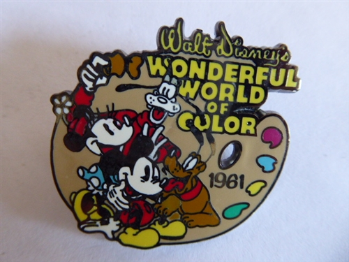 Vintage    Wonderful World of Color  dated  1961 Disney pin on card