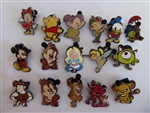 Disney Trading Pin  Cute Stylized Characters Mystery  Complete 16 Pin Set