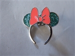 Disney Trading Pins Loungefly Minnie Mouse Ear Headband - Teal Glitter with Pink Bow