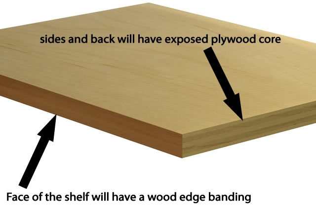 Replacement adjustable shelf - MAPLE PLYWOOD with a clear/natural finish,  custom front wood edge banding
