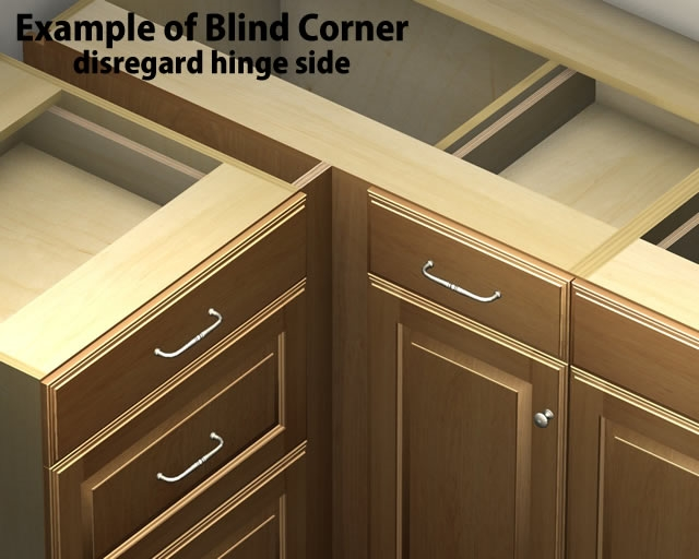 1 door 1 drawer blind corner base cabinet right for Kitchen cabinets 45 degree angle