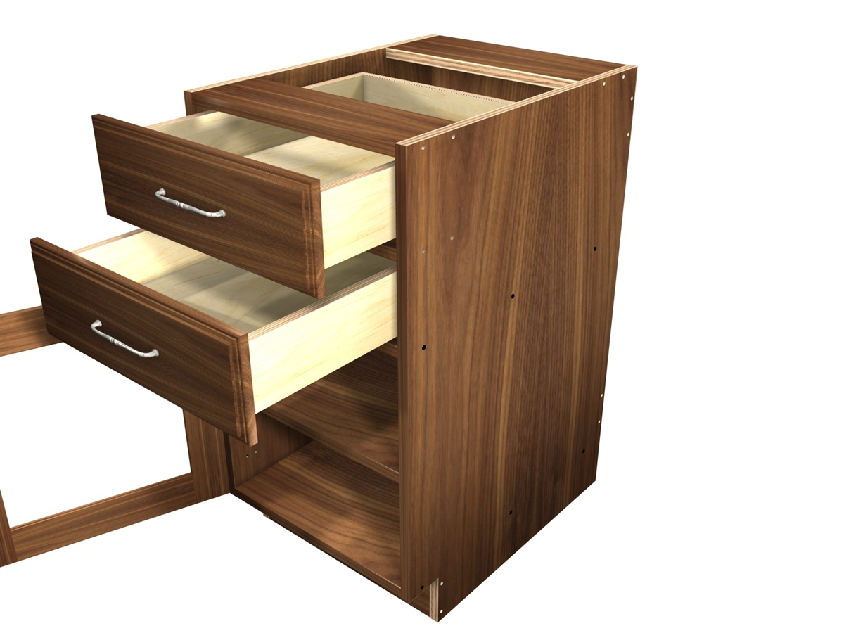 1 glass door and 2 top drawers base cabinet