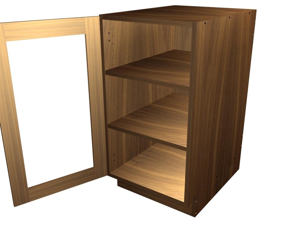 1 glass door base cabinet
