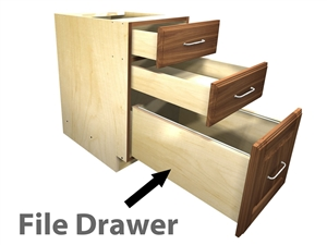 1 file drawer with 2 top drawers above