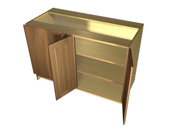 2 door blind corner base cabinet hinged left