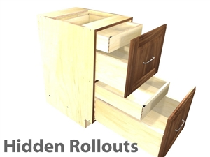2 drawer base cabinet with 2 hidden rollouts above each drawer box