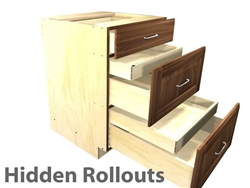 3 drawer base cabinet with 2 hidden rollouts above the lower drawer boxes