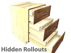 3 drawer base cabinet (EQUAL HEIGHT) with 3 hidden rollouts above each drawer box