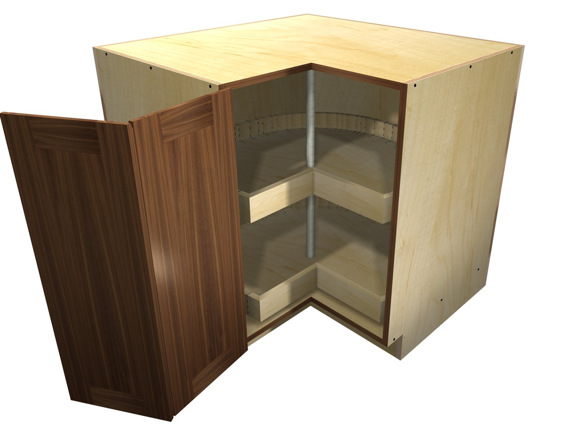 90 Degree Base Cabinet With Wood Lazy Susan