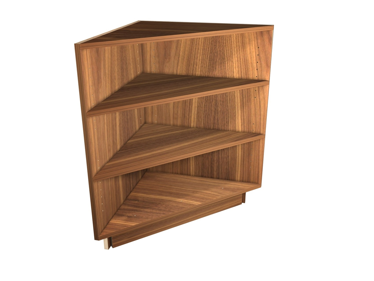 exposed interior corner shelf base cabinet