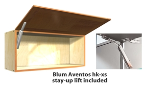 1 door FLIP UP wall cabinet (INCLUDES AVENTOS HK-XS STAY-UP ARM/ARMS)