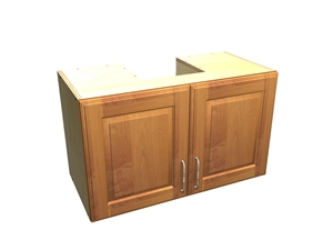 2 door wall cabinet with cutout for ductwork