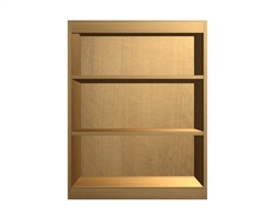 open wall cabinet with wide rails