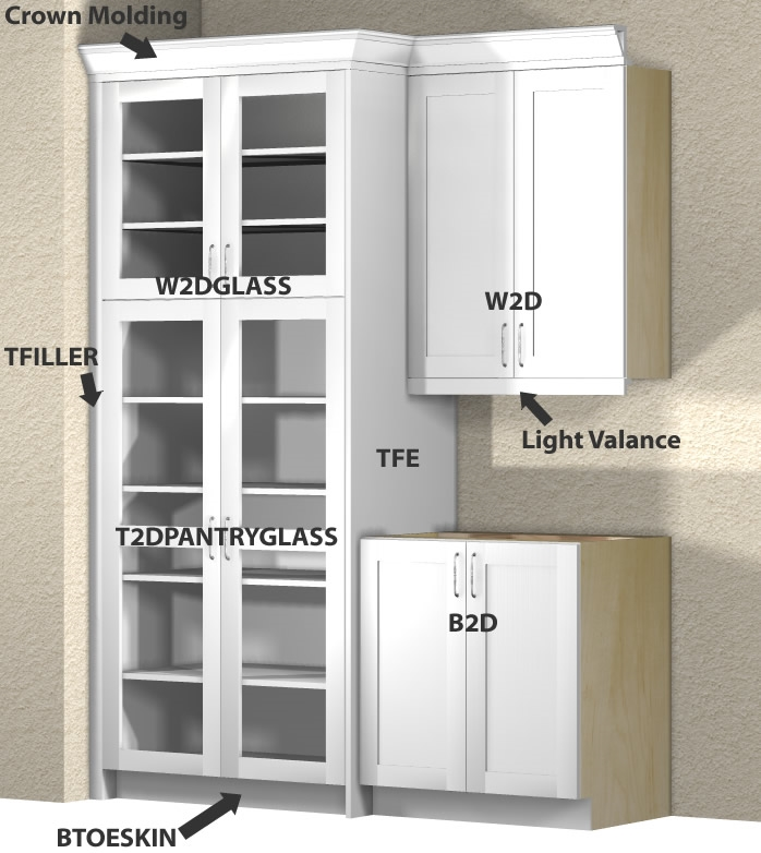 Kitchen Glass Door And Open Tall Cabinets