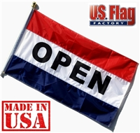 3'x5' OPEN Flag (Sewn Stripes) Outdoor Message Flag - Made in USA