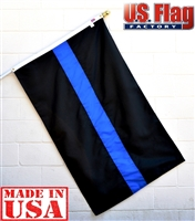 3'x5' Thin Blue Line Flag (Sewn Stripes) (3 Stripes) - for Police Officers