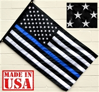 3'x5' American Thin Blue Line Flag (Embroidered Stars, Sewn Stripes) - for Police Officers