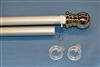 "5' x 1"" Silver Heavy Duty Spinning Pole with Gold Ball"