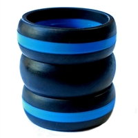 "AKTYVUSâ""¢ Men's Blue Line  Silicone Wedding Band Combo Pack"