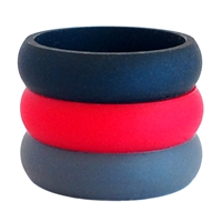 AKTYVUS® Womens's Crimson Silicone Wedding Band Combo Pack