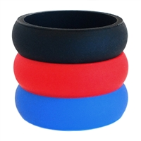AKTYVUS® Womens's Red/Blue Silicone Wedding Band Combo Pack