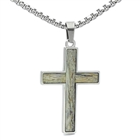 "STEEL REVOLTâ""¢ Stainless Steel Cross Necklace with Genuine Antler"