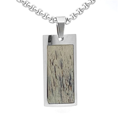"STEEL REVOLTâ""¢ Stainless Steel Necklace with Genuine Antler"