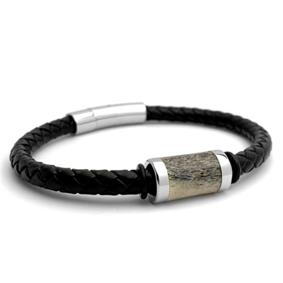 "STEEL REVOLTâ""¢ Genuine Leather Bracelet with Antler Inlay"