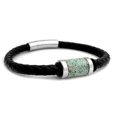 "STEEL REVOLTâ""¢ Genuine Leather Bracelet with Crushed Opal Inlay"