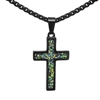 "STEEL REVOLTâ""¢Black Stainless Steel Cross Necklace with Crushed Opal"
