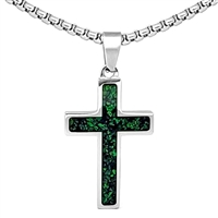 "STEEL REVOLTâ""¢ Stainless Steel Cross Necklace with Crushed Opal"