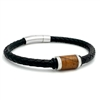 "STEEL REVOLTâ""¢ Genuine Leather Bracelet with Tobacco Leaf"