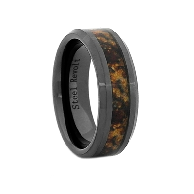 "STEEL REVOLTâ""¢ Comfort Fit 8mm High-Tech Ceramic Wedding Ring With High-Def Dinosaur Bone Inlay"