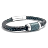 "STEEL REVOLTâ""¢ Genuine Leather Bracelet with Turquoise Inlay"