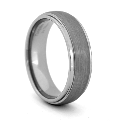 "STEEL REVOLTâ""¢  Comfort Fit Domed 7mm Tungsten Carbide Wedding Ring with Satin Finish and High Polish Edges"