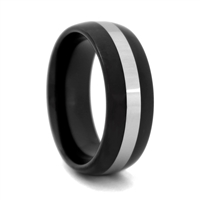 "STEEL REVOLTâ""¢  Black High Polish Tungsten Carbide with Silver Center"