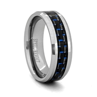 "STEEL REVOLTâ""¢ Comfort Fit Tungsten Carbide Wedding Ring with Beveled Edges and Black/Blue Carbon Fiber Inlay"