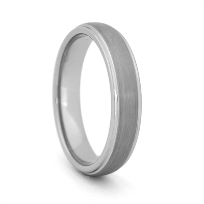 "STEEL REVOLTâ""¢  Comfort Fit Domed 4mm Tungsten Carbide Wedding Ring with Satin Finish and High Polish Edges"
