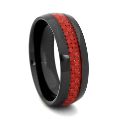 "STEEL REVOLTâ""¢ Comfort Fit 8mm Black High-Tech Ceramic Wedding Band with Red Carbon Fiber Inlay"