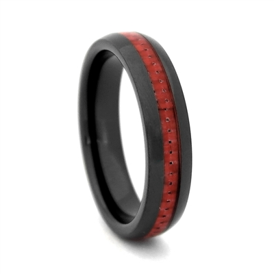 "STEEL REVOLTâ""¢ Comfort Fit 4mm Black High-Tech Ceramic Wedding Band with Red Carbon Fiber Inlay"