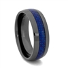 "STEEL REVOLTâ""¢ Comfort Fit 8mm Black High-Tech Ceramic Wedding Band with Blue Carbon Fiber Inlay"