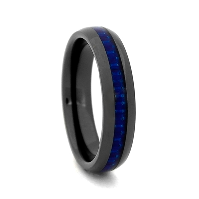 "STEEL REVOLTâ""¢ Comfort Fit 4mm Black High-Tech Ceramic Wedding Band with Blue Carbon Fiber Inlay"