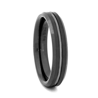 "STEEL REVOLTâ""¢ Comfort Fit 4mm Black High-Tech Ceramic Wedding Band with a Groove"